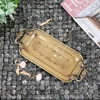 Cocostyles InsFashion pretty handmade brass jewelry and pen storage tray with handles for modern america style home decor
