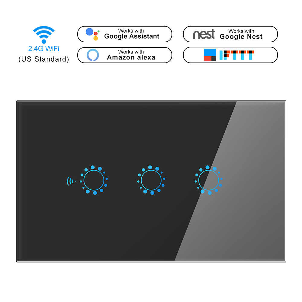 Smart Light Switch Wireless Wall Interruptor Touch Control WiFi Switch Compatible With Alexa Google Assistant IFTTT For Android