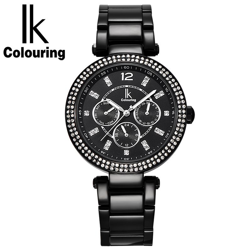 IK Colouring Luxury Dress Women's Girl Fashion Rose Gold Black White Dial 24Hours Week Date Stainless Steel Quartz Watch Gift все цены