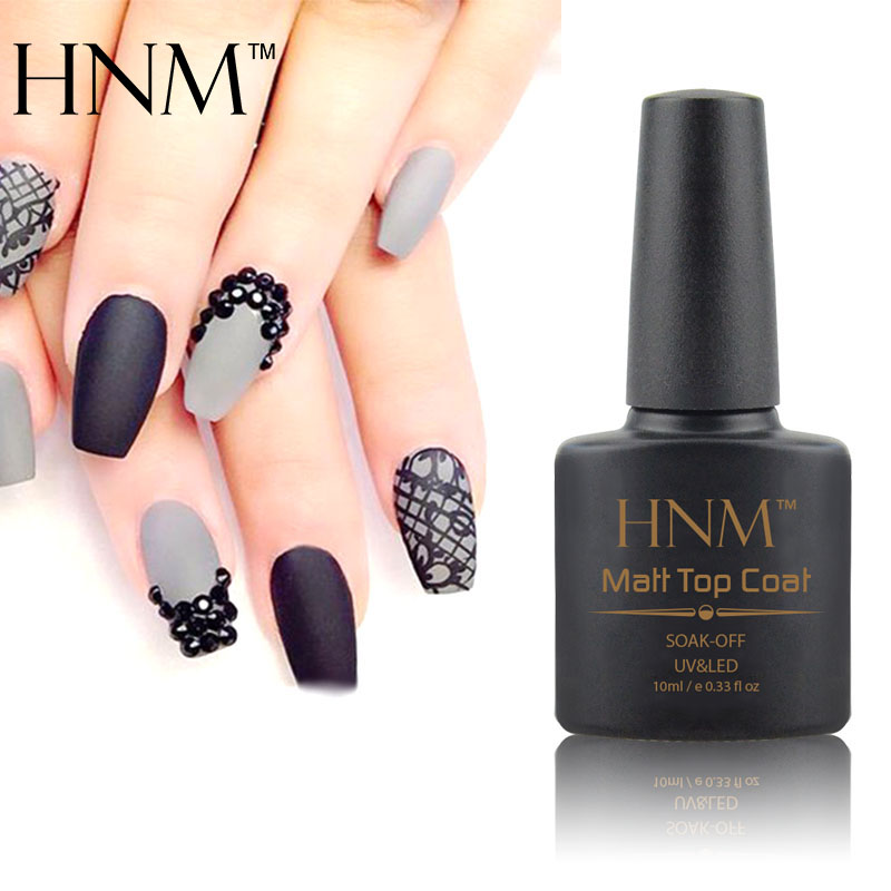 HNM 10ml Matte Nail Polish Soak Off Transparent Lacquer