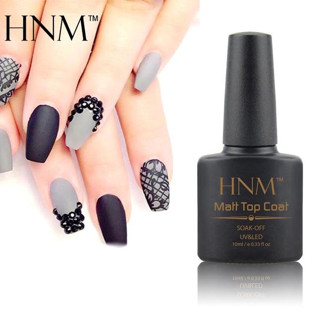 HNM 10ml Matte Nail Polish Soak Off Transparent Lacquer Clear Nail ...
