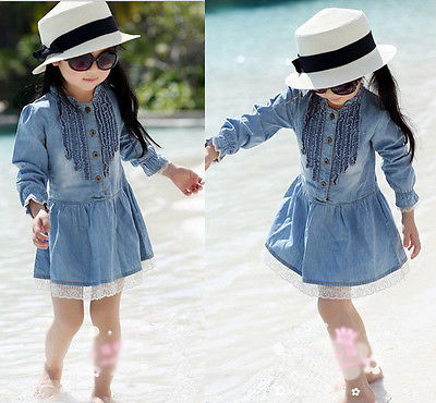 2-8Y Girl Kids Lovely Denim Blue Beautiful Lace Cowboy O-Neck Clothes Long Sleeve Dress 2 8y girl kids lovely denim blue
