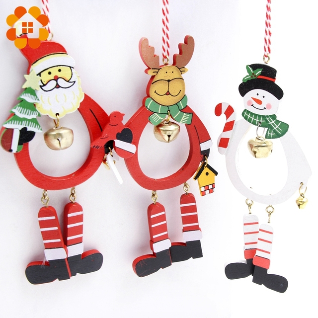 3pcs colorful diy creative wooden christmas series bell pendants decoration wood crafts christmas ornaments home decor - Wooden Christmas Ornaments