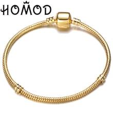 Hot Sale 17-21cm Gold Color Snake Chain Fit Original Brand Bracelet DIY Charm Bead Bangles Jewelry For Men Women 2019 New