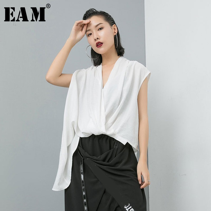 [EAM] 2019 New Spring Summer Round Neck Sleeveless Pattern Printed Three-dimensional Personality Tank Tops Women Fashion JS588