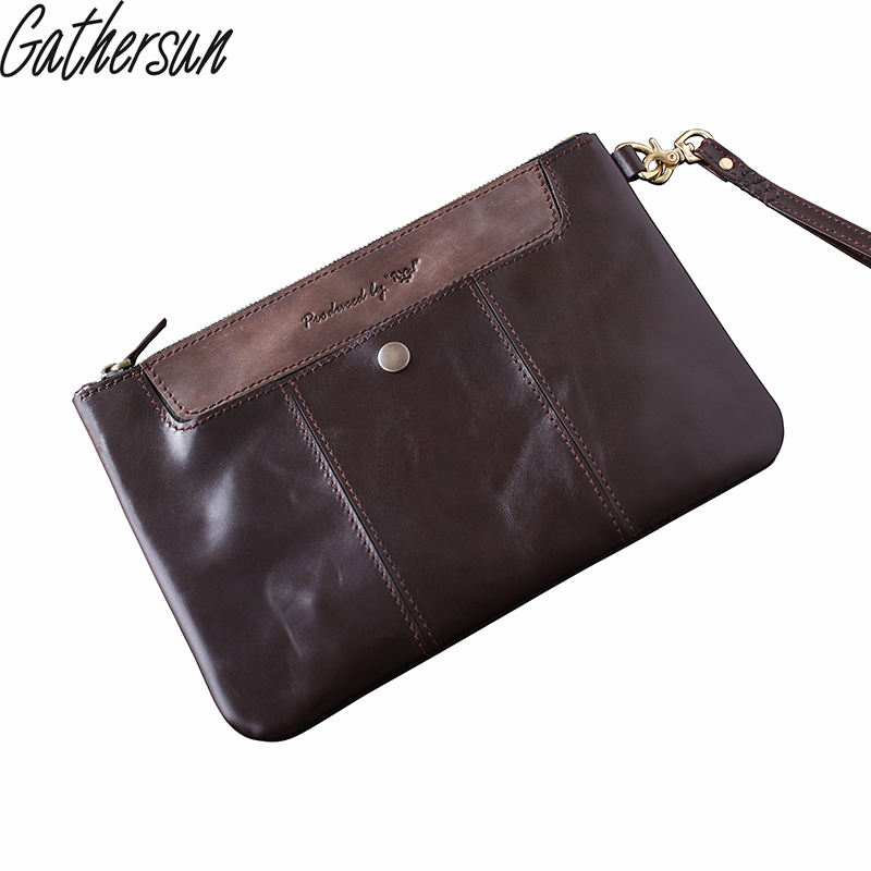 Handmade Italian Leather Clutch Bag Unisex Genuine Cow Leather Handbag with Strap Day Clutches High Quality local focal fashionable handmade with delicate handbag