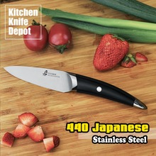 TUO Cutlery B&W Series 3.5 Inch Paring Knife Peeler Fruit Cut Black Matt Handle Kitchen Cook Chef Sharp Blade 440 Japanese Steel