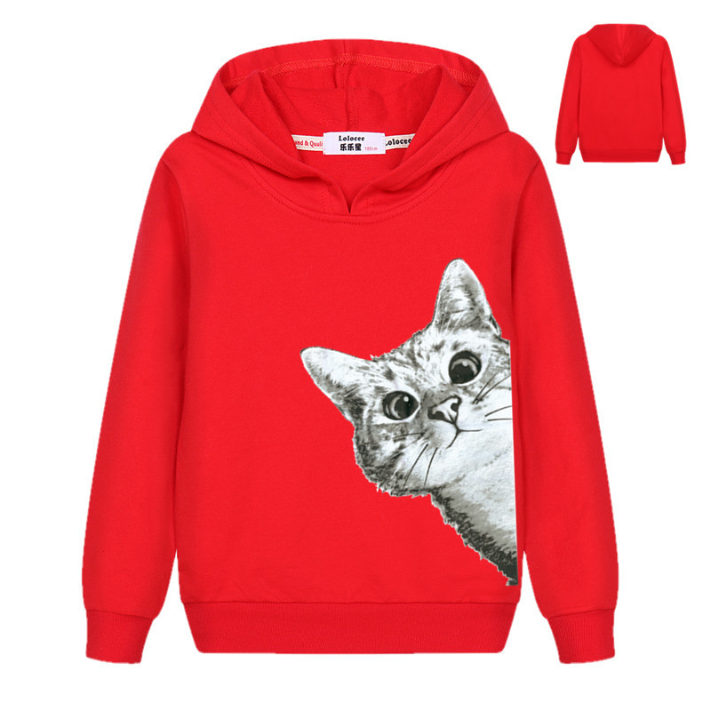 2018 Kawaii Cat Hoodies Kids Girls Cute Cartoon Looking Outside Cat Print Hooded Sweatshirt Loose Pullover Tracksuit for Boys 1