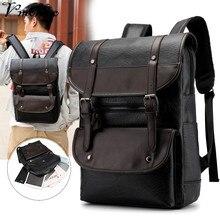 купить Fashion Vintage PU Leather School Laptop Backpacks Men Travel Rucksack Large Waterproof Daypacks Retro Bagpack New School Bags по цене 1355.56 рублей