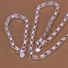 Silver plated refined luxury gorgeous fashion noble classic long squares two piece sets hot selling wedding jewelry S126