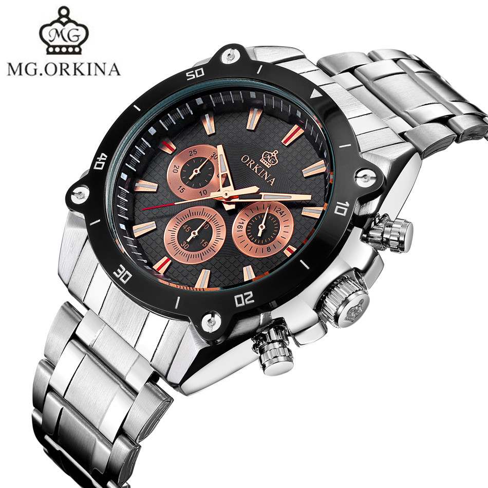 MG.Orkina Mens Mult-functional 6 Hands Sport Quartz Wrist Watch Gifts Gift Box Free Ship