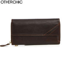 OTHERCHIC Brand Classic Men Genuine Wallet Crazy Horse Leather Wallets Fashion Purse Card Holder Man Vintage Wallet 1706 18