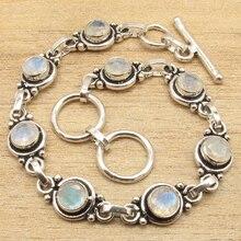 "Natural LABRADORITE  Silver Plated Bracelet 7 3/4 "" 8 Gem Jewelry"