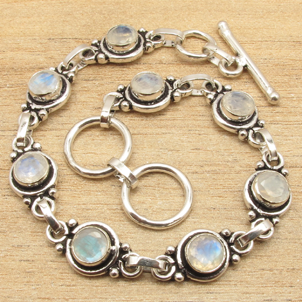 Natural LABRADORITE Moonstone Muitistone Silver Plated Bracelet 7 3/4