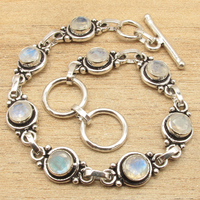Natural LABRADORITE Silver Plated Bracelet 7 3 4 8 Gem Jewelry