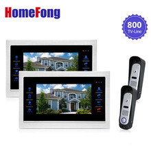 Homefong Wired Video Doorphone Intercome Door Entry System 2 Monitor and 2 Doorbell For Apartment 800TVL Record Sd Card Support