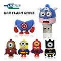Миньоны Usb Flash Drive 16 ГБ 8 ГБ 4 ГБ Pen Drive мстители Капитан Америка Железный Человек Pendrive Гадкий я памяти U Диск