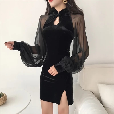 2020 Improved Chinese Dress For Women Retro Mandarin Collar Vintage Lace Sleeve Elegant Sexy Cheongsam Silk Satin Qipao