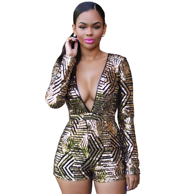 c151983ef89 Spring Autumn 2017 Gold Black Sequin Jumpsuit Sexy V-Neck Women High Waist  Rompers Ladies Long Sleeve Playsuit Plus Size S2742