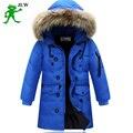 Alta qualidade 2016 longa do menino para a juventude crianças cuhk mais para baixo menino jaqueta de inverno crianças casaco de pele meninos parka roupa dos miúdos 587