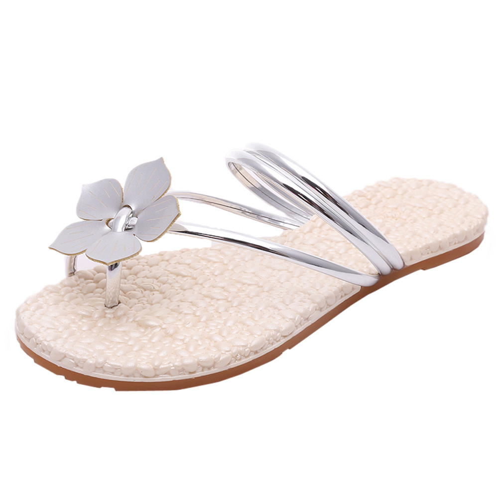 Women Summer Vintage Gladiator Shoes Beach Flowers Flat Heel Anti Skidding Sandals Flat Heels Slippers Ladies Beach sandalias summer flat sandals female gladiator sandals basic slippers stripe flat heel anti skidding beach shoes sandalias