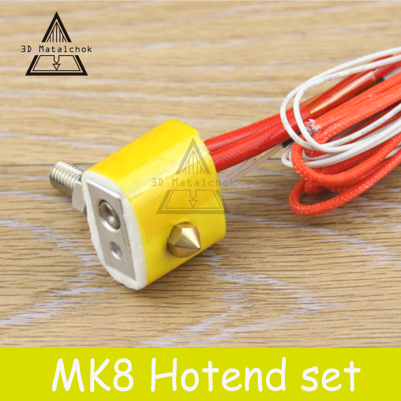 MK8 Assembled Extruder Hot End kit for i3 3D Printer 12v/24v 1.75mm 0.4mm Nozzle 3D printer aluminum heating block 2017 assembled jennyprinter3 z360ts dual extruder nozzle extended for ultimaker 2 um2 high precision auto leveling 3d printer