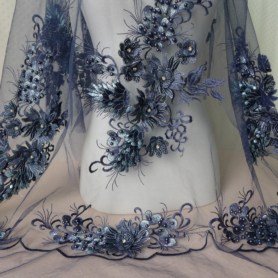Free Shipping Dark Blue Retro Embroidered Beaded Lace Fabric With Floral 3D Rhinestone Luxury Wedding Gown Lace Fabric