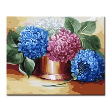 DIY Digital Modern Painting By Numbers Hydrangea Flower Wall Art Pictures Fashion Canvas Unique Gifts For Home Decor Framework