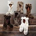 2016 Otoño y El invierno freeshipping súper cálida Lana faxu fur animal capucha hood con guantes de la bufanda del sombrero de los niños del oído de gato regalo de la bufanda