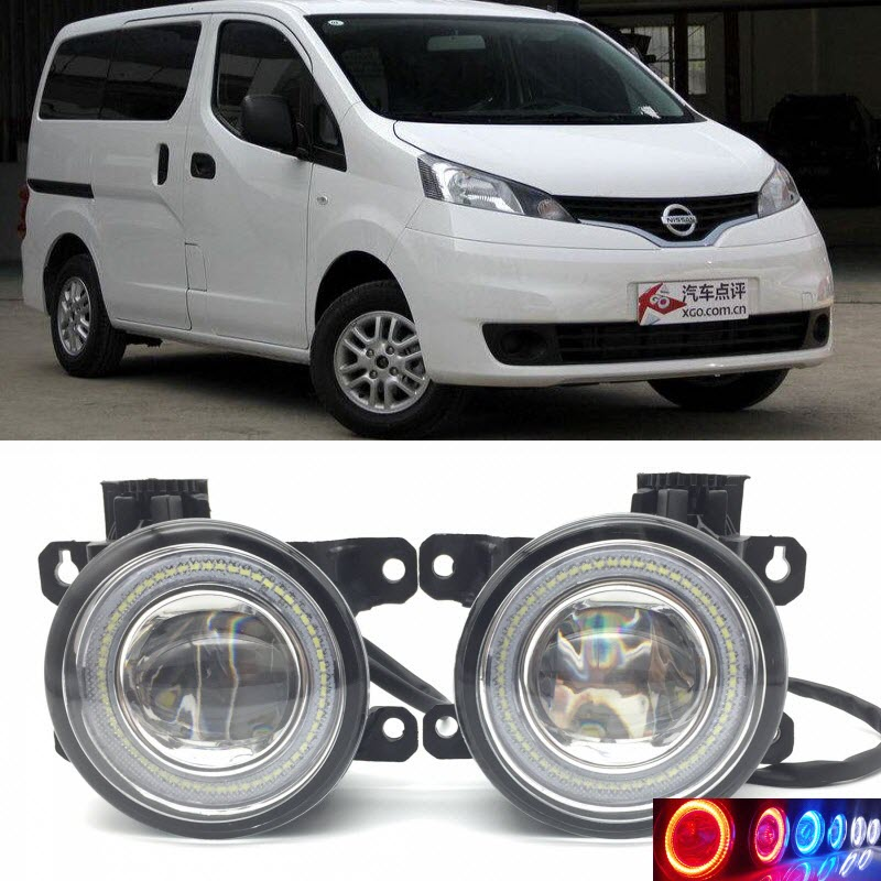 2 in 1 LED Angel Eyes DRL 3 Colors Daytime Running Lights Cut-Line Lens Fog Lamp for Nissan Note E11 NV200 Evalia 2011 Pixo UA0 teana angel eyes led head lights for nissan 2008 11 v4 type