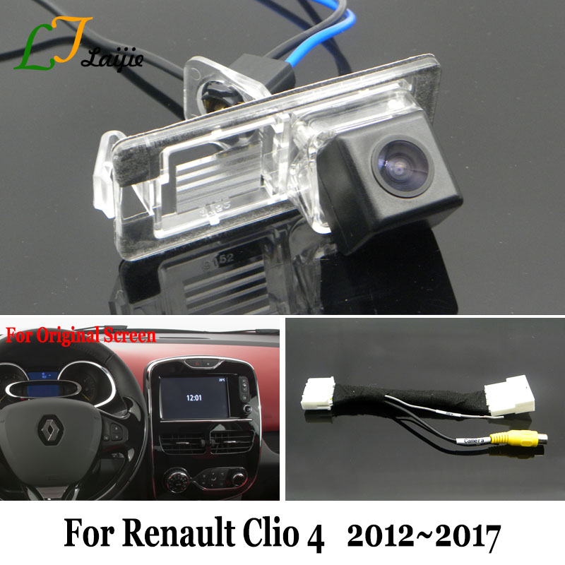 Laijie Car Backup Camera With 24Pin Adapter Cable For Renault Clio 4 IV 2012~2017 / OEM Monitor Compatible Rear View Camera / HD l locker renault clio iv hb 12