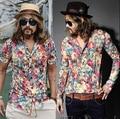Caliente nueva verano 2015 hombres tops nueva moda corea camisa de manga corta de la gasa delgada flor de la marea para hombre Retro discoteca ropa