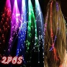 2 шт. светодиодный волоконно-оптический загорается разноцветные волосы заколки светодиодный подсветка для волос рождественские украшения неоновые Вечерние