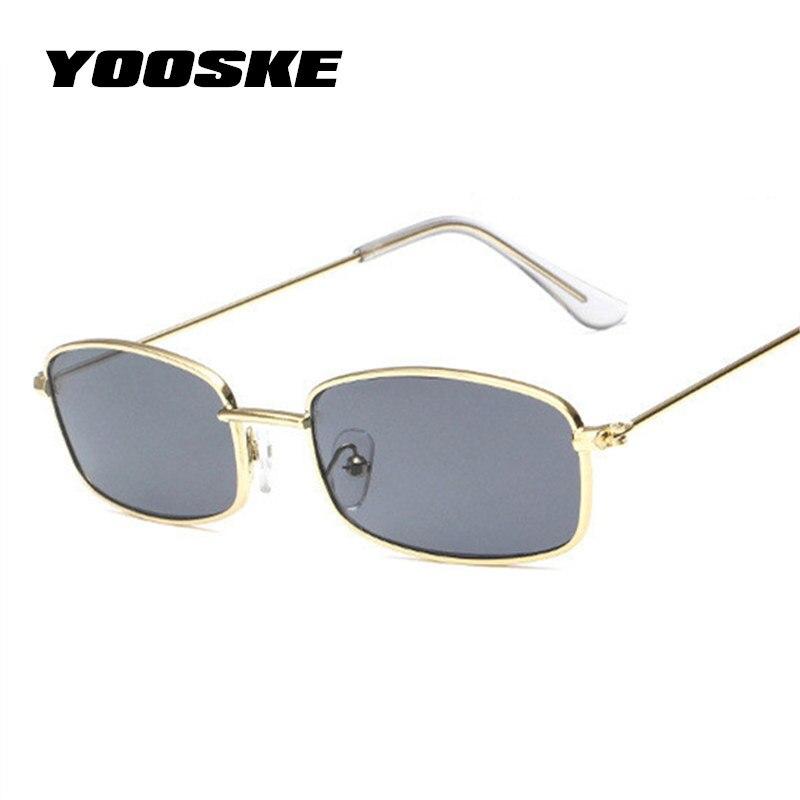 YOOSKE Vintage Rectangle Sunglasses Men Women Luxury Brand Designer Yellow Pink Sun Glasses Retro Metal Eyewear Fashion Gift
