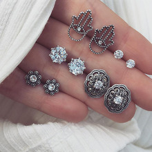 5 Pairs/set Bohemian Geometric Crystal Stud Earrings Set For Women Vintage Silver Color Hand Flower Brincos Earring 2018 Jewelry