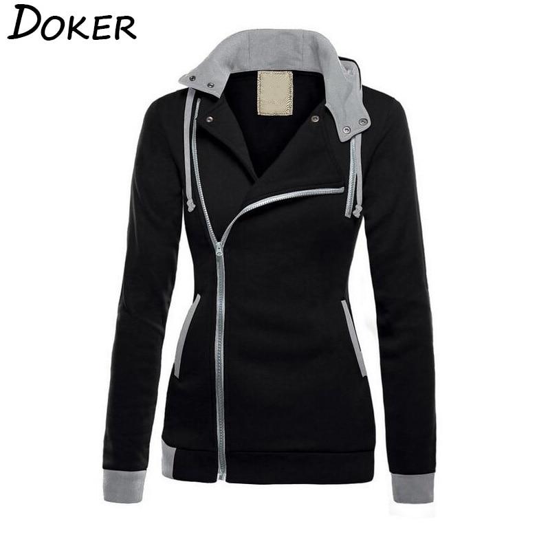 2018 Plus Velvet Warm Hoodies Women Diagonal Zipper Long Sleeve Patchwork Sweatshirts Pocket Hooded Jacket Female Winter Clothes