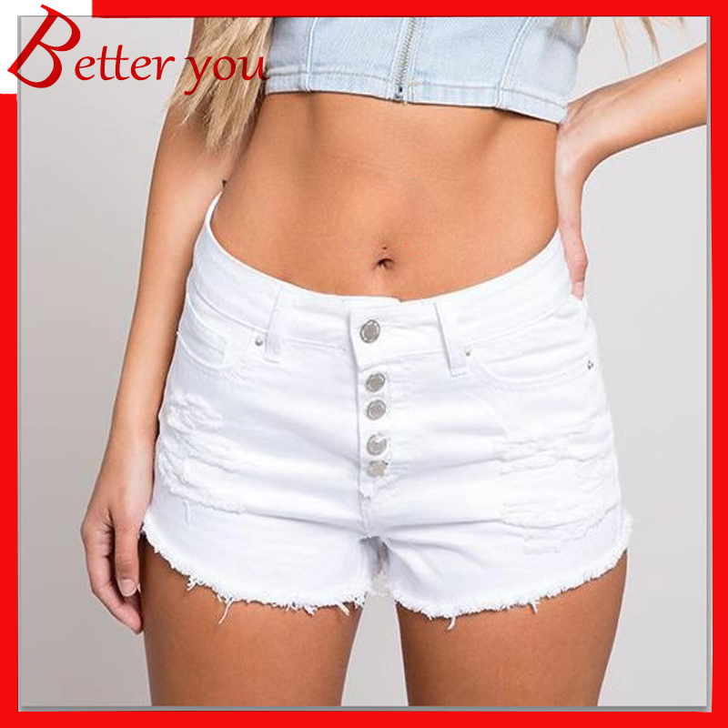 2019 Shorts Women Summer New Hot Sale Mid waist denim shorts raw edge hot ladies