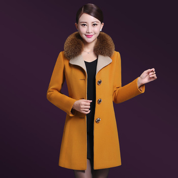 High Quality Free Shipping  New Autumn Winter Cashmere Long Coat Collar Wool Medium Old Age Temperament  Mother Fashion