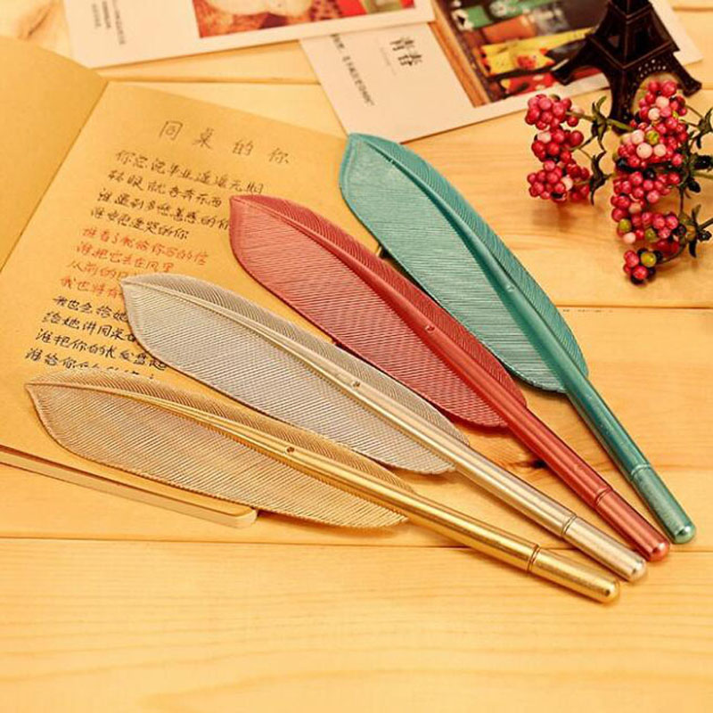 Image 2 - 20 Pcs/lot Hot Sale Creative Feather Shape Ballpoint Pen High Quality Plastic Writing for Kids Children Free Shipping Gift Pens-in Ballpoint Pens from Office & School Supplies