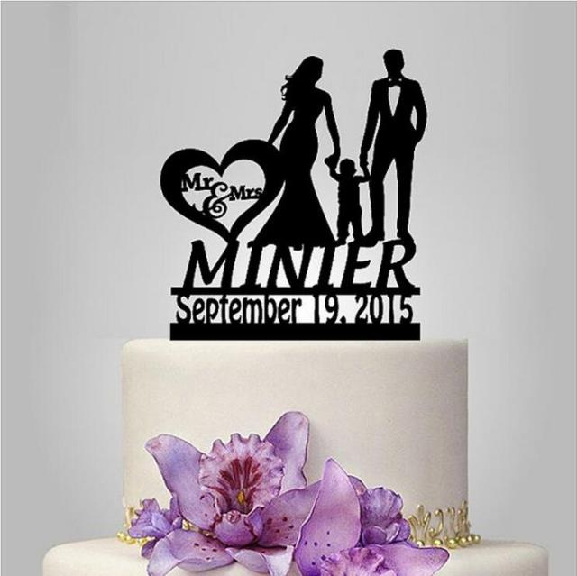 Family Wedding Cake topper with child, Personalized wedding cake ...