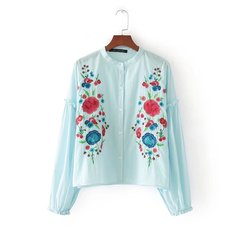 2018 New Fashion Women Vintage Lantern Sleeve Chest Floral Embroidery Casual Blouses Shirts Lady Feminine Blusas Tops LS1367