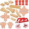 18 pçs/lote crianças brinquedos de madeira do trem Tomas e Amigos Trem cabeça railwy slot madeira de faia conjunto Pista