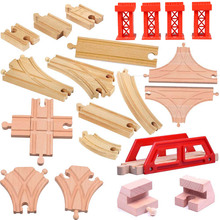 18pcs/lot kids wooden train toys Tomas and Friends Train head railwy slot beech wood Track set