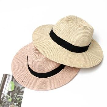 232eaa398 Sombrero de verano para mujer Panamá Sombrero de paja Fedora playa  vacaciones visera ancha Casual verano sombreros de sol para mujer Sombrero  2019