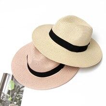 52a20b352ff9c3 Summer Hat Women Panama Straw Hat Fedora Beach Vacation Wide Brim Visor  Casual Summer Sun Hats