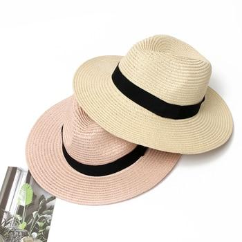 1734e682 Summer Hat Women Panama Straw Hat Fedora Beach Vacation Wide Brim Visor  Casual Summer Sun Hats