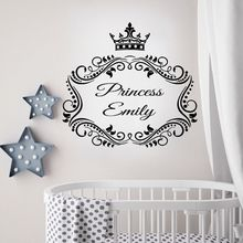 Girl Room Decor Princess Custom Name Wall Decals Nursery Crown Art Mural Babys Personalized AY940