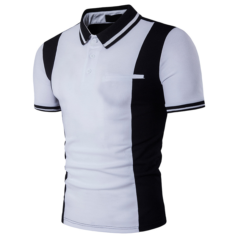 Classic white   polo   shirt man single breasted   polo   people cultivate one's morality short sleeve   polo   shirt slim fit male