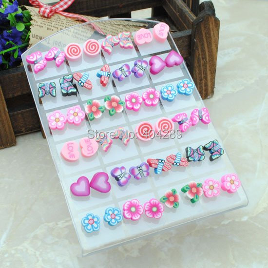 Lots 144pairs Girls Hand-made Soft Polymer Clay Pretty Spring Bright Color Fruit Stud Earrings