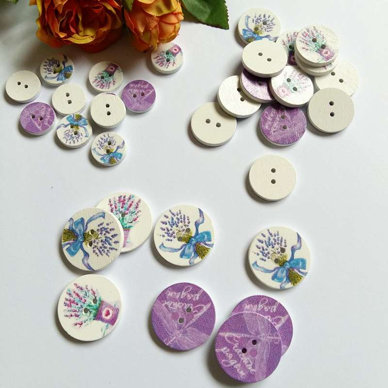 New 10//50//100pcs Beach Theme Wood Round Buttons 32mm Sewing Craft